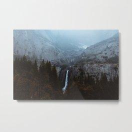 Yosemite Falls and the Mist Metal Print