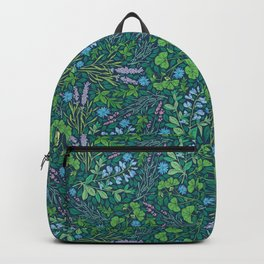 Lavender and lupine with cornflowers on herbal background Backpack