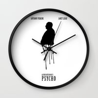 psycho Wall Clocks featuring Psycho by Linda Hordijk