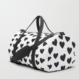 Hearts Love Black and White Pattern Duffle Bag