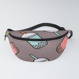 Bubble Tea Grey Pattern Fanny Pack
