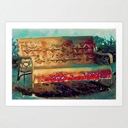Snowy Sunlit Red Garden Bench by CheyAnne Sexton Art Print