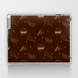 Fast Food Snacks Attack - Pizza Pie Hot Dogs Chicken Wings! on Brown Laptop & iPad Skin