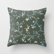 vintage floral vines - greys Throw Pillow