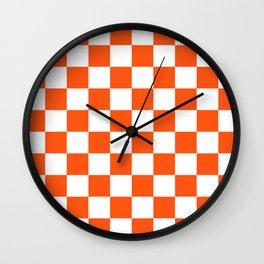 Cheerful Orange Checkerboard Wall Clock