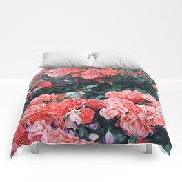 Psychedelic summer florals Comforters