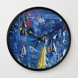 Isle of Wight, Regatta at Cowes seascape nautical painting by Raoul Dufy Wall Clock