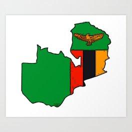 Zambia Map with Zambian Flag Art Print