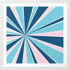 Starburst Pink and Blue Art Print