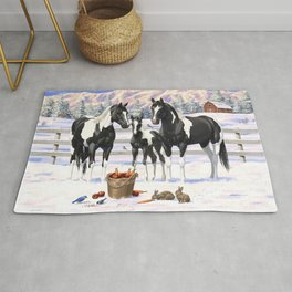 Black Pinto Horse Family Paint Horses In Snow Rug