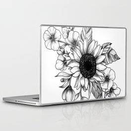 Bouquet of Flowers with Sunflower / Fall floral lineart Laptop & iPad Skin