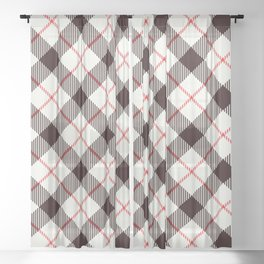 White Tartan with Diagonal Black and Red Stripes Sheer Curtain