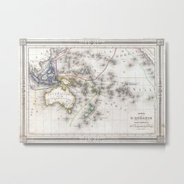 Vintage Map of Oceania (1852) Metal Print