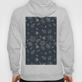 Pastel navy blue white hand painted autumn leaves Hoody