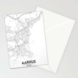 Minimal City Maps - Map Of Aarhus, Denmark. Stationery Cards