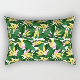 Tropical Bird of Paradise . Yellow and Pink Floral Print Pattern . Summer Beach Print trend . Rectangular Pillow
