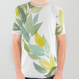 Green and Leafy Watercolor Wreath All Over Graphic Tee