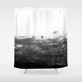 Durand - black and white minimal painting india ink brushstrokes abstract art canvas for home decor Shower Curtain