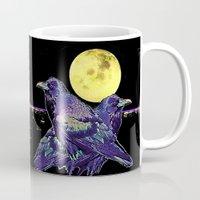 blankets Mugs featuring Midnight Moon Ravens by SharlesArt