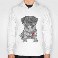 rottweiler Hoodies featuring Courageous Heart- Rottweiler by DiAnne Ferrer