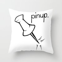 pinup Throw Pillows featuring Pinup. by Ebenezer Hedgehog