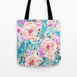 WAHINE WAYS Aqua Tropical Floral Tote Bag