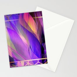"""Ultraviolet leaves and hexagonal golden grid"" Stationery Cards"