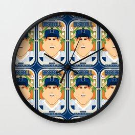 Baseball Blue Pinstripes - Deuce Crackerjack - Jacqui version Wall Clock