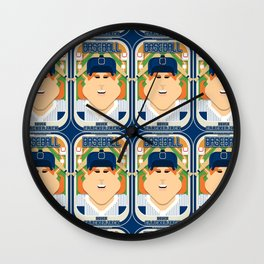 Baseball Blue Pinstripes - Deuce Crackerjack - Jacqui version Wall Clock