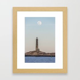 Pink Moon over Thacher island Framed Art Print
