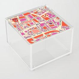 paris map pink Acrylic Box