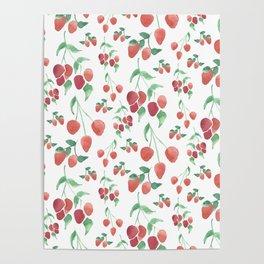 Watercolor Strawberries Poster