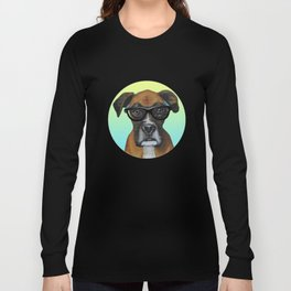 Hipster Boxer dog Long Sleeve T-shirt