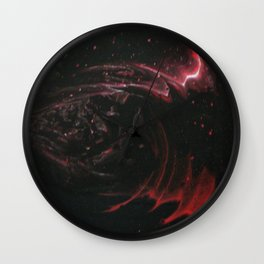 Black Flame on White Background Wall Clock