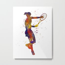 Woman plays tennis in watercolor 04 Metal Print