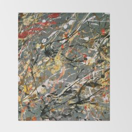 Jackson Pollock Interpretation Acrylics On Canvas Splash Drip Action Painting Throw Blanket