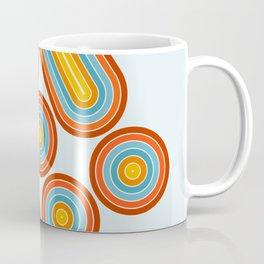 Retro Motion 2 – Orange / Yellow / Blue Abstract Stripe Pattern Coffee Mug