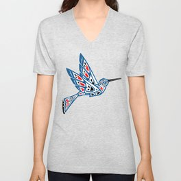 Hummingbird Pacific Northwest Native American Indian Style Art Unisex V-Neck