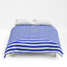 Cobalt Blue and White Thin Horizontal Deck Chair Stripe Comforters