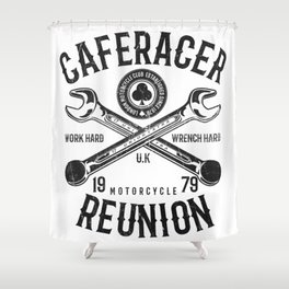 Cafe Racer Reunion Vintage Tools Poster Shower Curtain