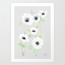 White Anemone print / gray ground Art Print