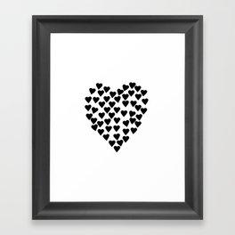 Hearts Heart Black and White Framed Art Print
