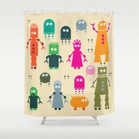 robots Shower Curtains featuring Robots by ALL TYPE _ Marcio Pontes