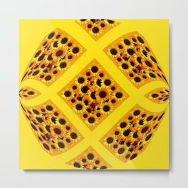 ABSTRACT GOLDEN YELLOW SUNFLOWERS  PATTERN  DESIGN Metal Print
