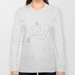 Minimal line drawing of woman's folded arms - Anna Long Sleeve T-shirt