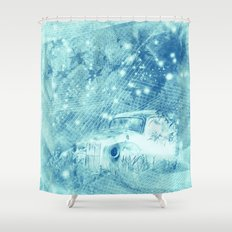 Ghost driver in the moonlight with fireflies and leaves Shower Curtain