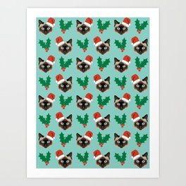 Siamese Cat cute christmas gift santa hat pattern mistletoe and holly wreath cats cute kitten gift  Art Print
