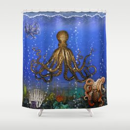 Octopus' Lair - colorful Shower Curtain
