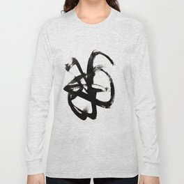 Brushstroke 4 - a simple black and white ink design Long Sleeve T-shirt