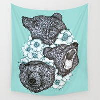 bears Wall Tapestries featuring Minty Bears in Bears by ECMazur